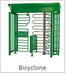 Full Height Turnstile with bicycle lane