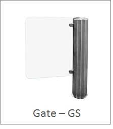 Glass gate turnstile, swing, centrally controlled