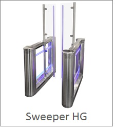 Half Height turnstile with full height glass, LED lights and access control compatibility