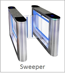 Half height sweeper turnstile with glass gates and numerous safety sensors